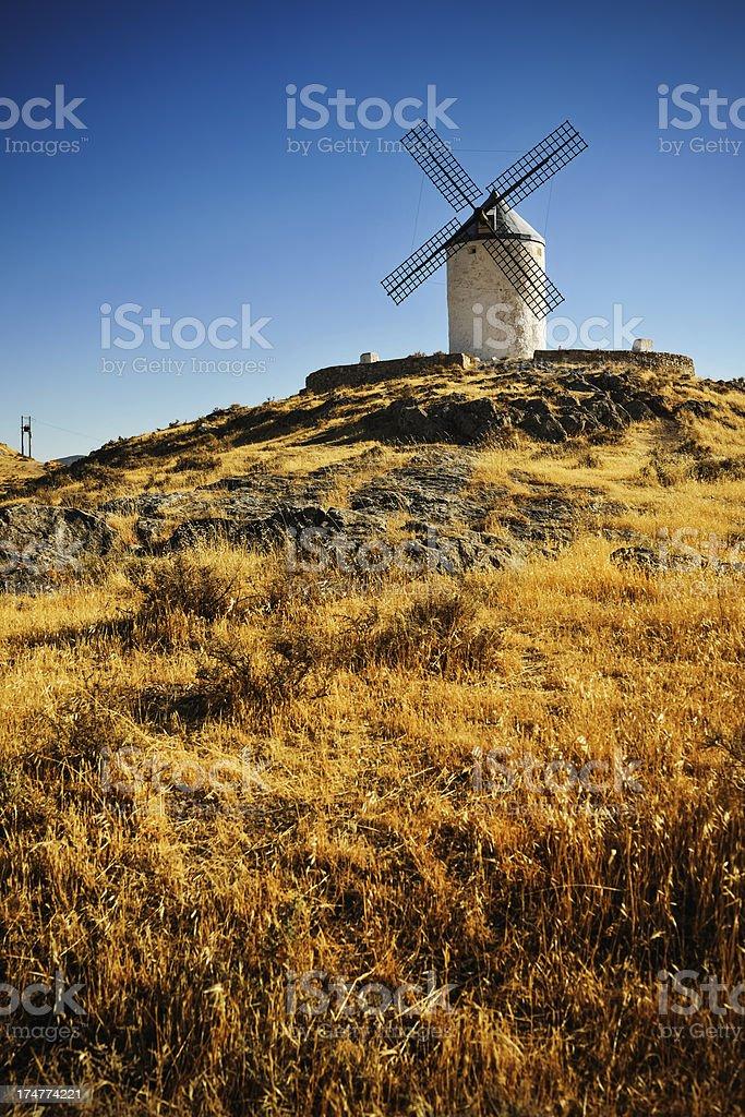 Windmills at sunset, Consuegra, Castilla La Mancha, Spain stock photo