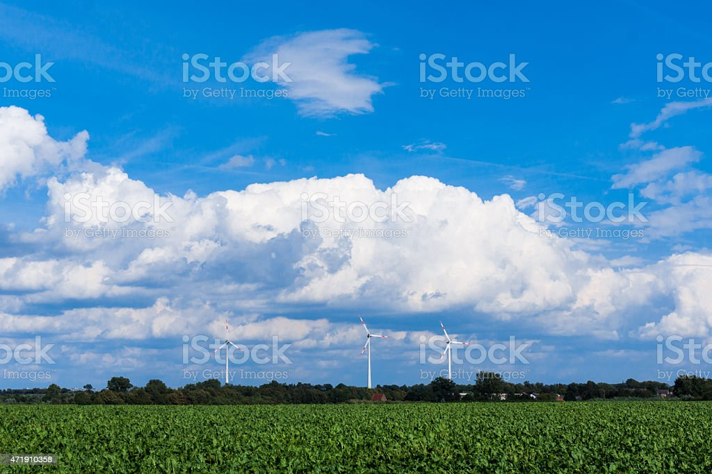 windmills for electric power production.  Wind turbines on the m stock photo