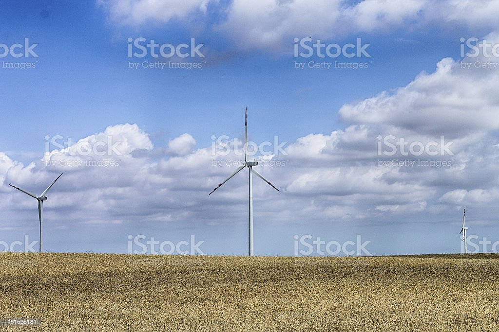 Windmills for renewable electric energy production in Polish Pomerania stock photo