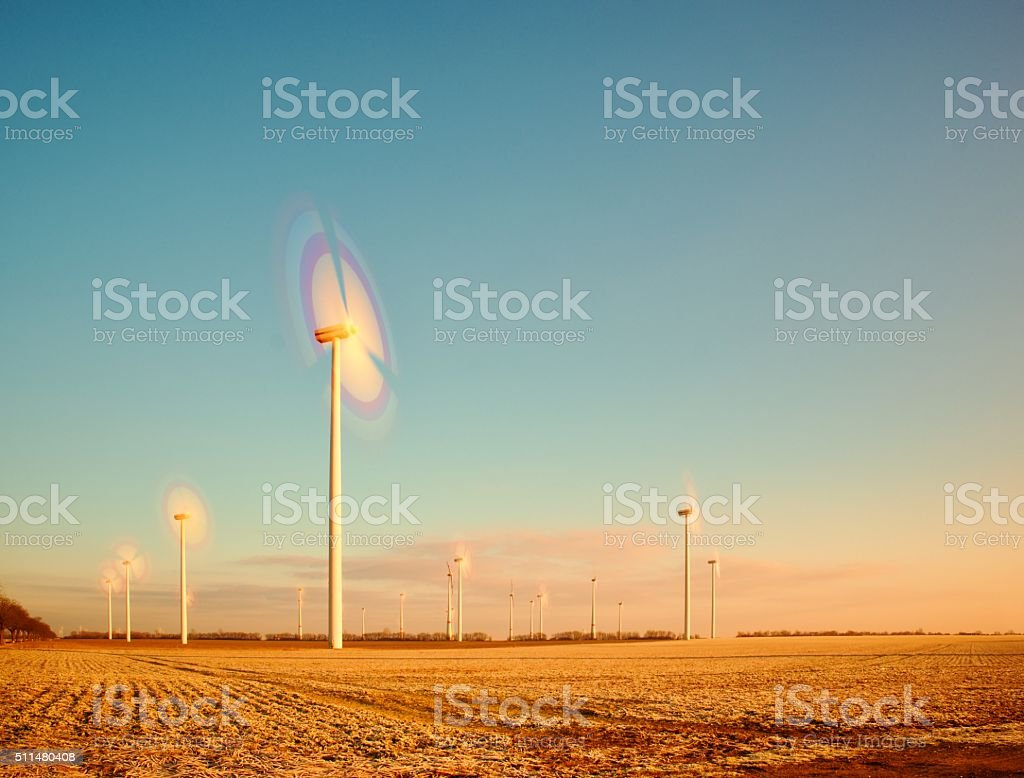 Windmills for renewable electric energy production stock photo
