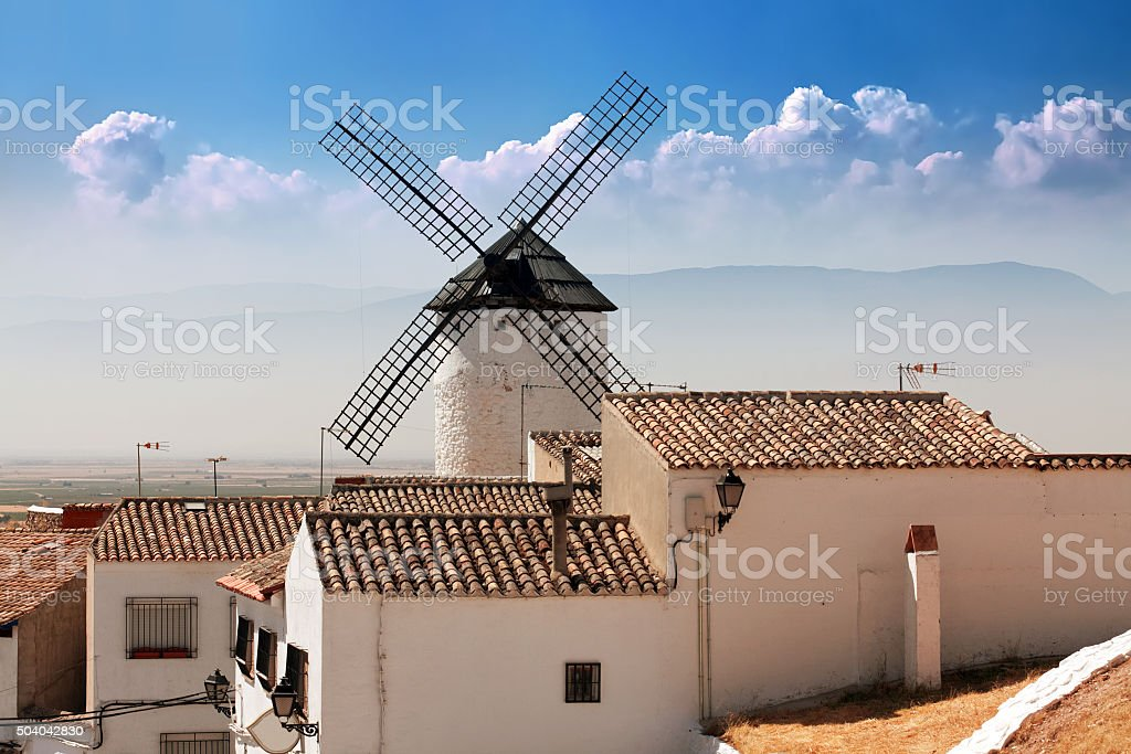 windmills in Campo de Criptana, La Mancha, Spain stock photo