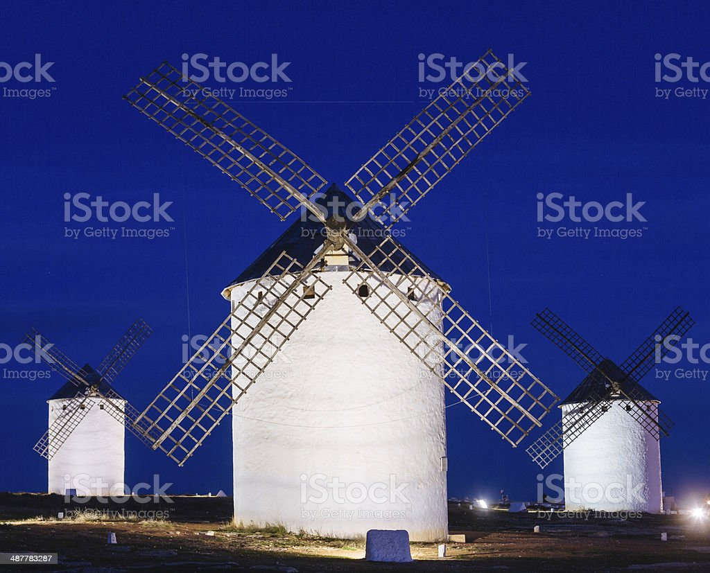 Windmills in Campo de Criptana Spain stock photo