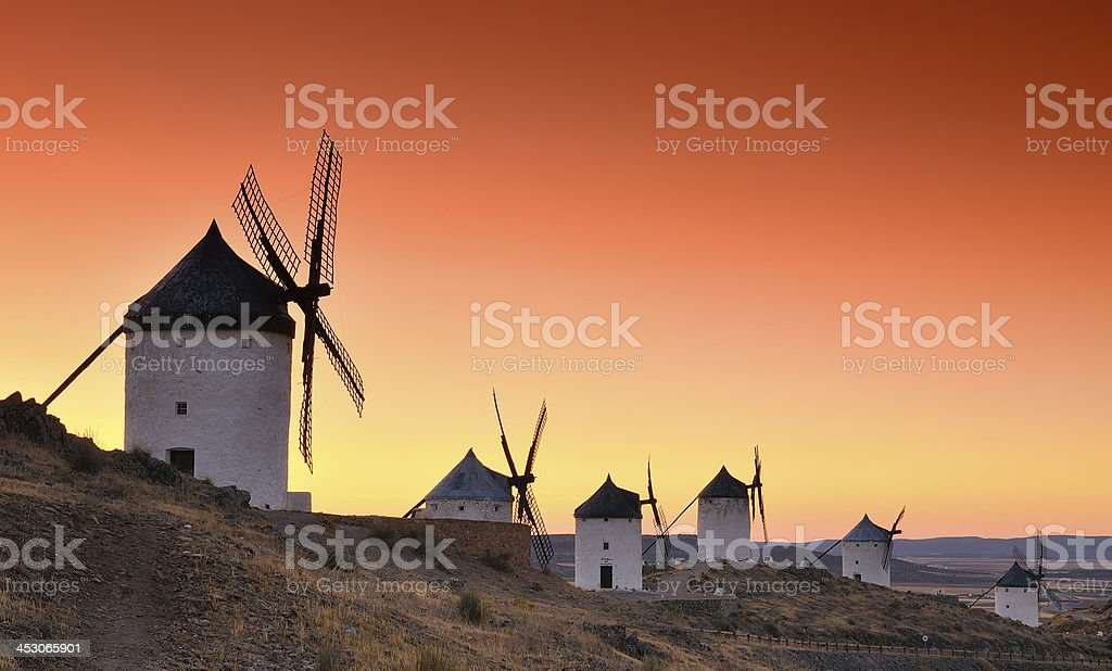 Windmills in Consuegra, Spain. stock photo