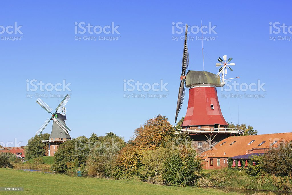 Windmills in East Frisia, Germany stock photo