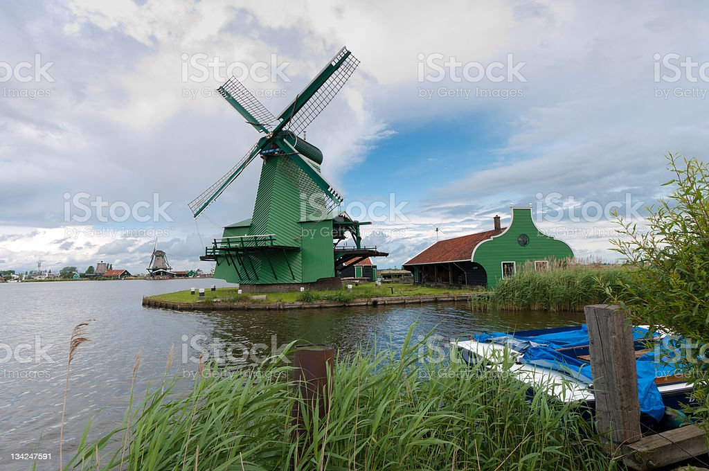 windmills in holland royalty-free stock photo