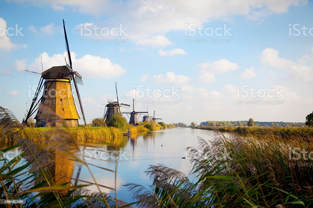 Windmills in Kinderdijk, Holland stock photo