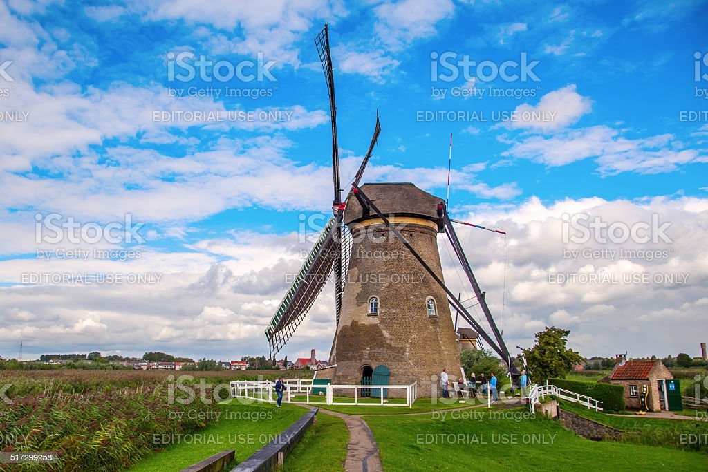 windmills in Kinderdijk, Netherlands stock photo