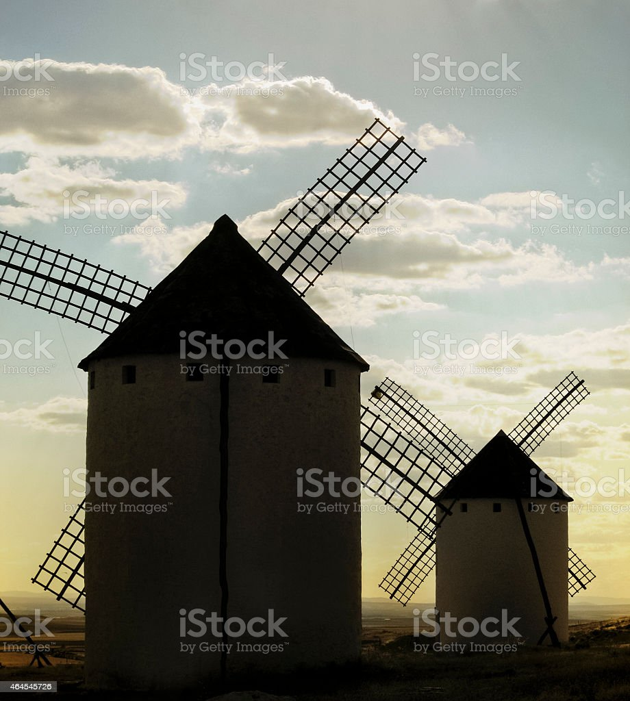 Windmills in La Mancha, Spain. stock photo