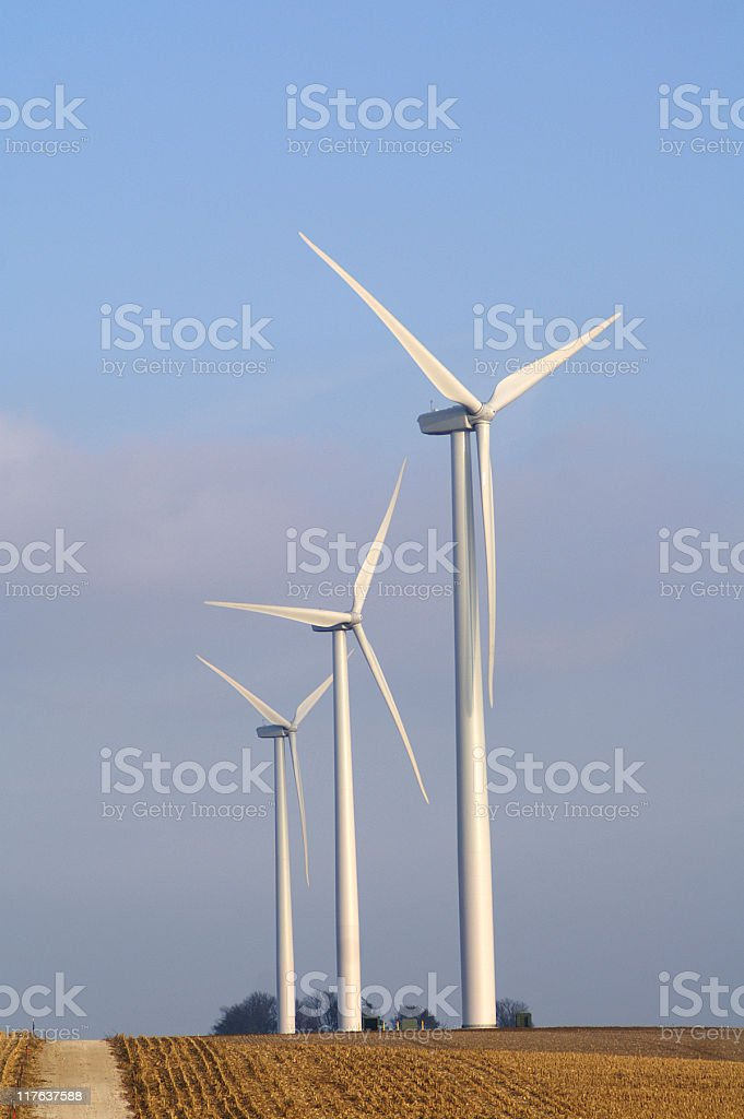 windmills in midwest royalty-free stock photo