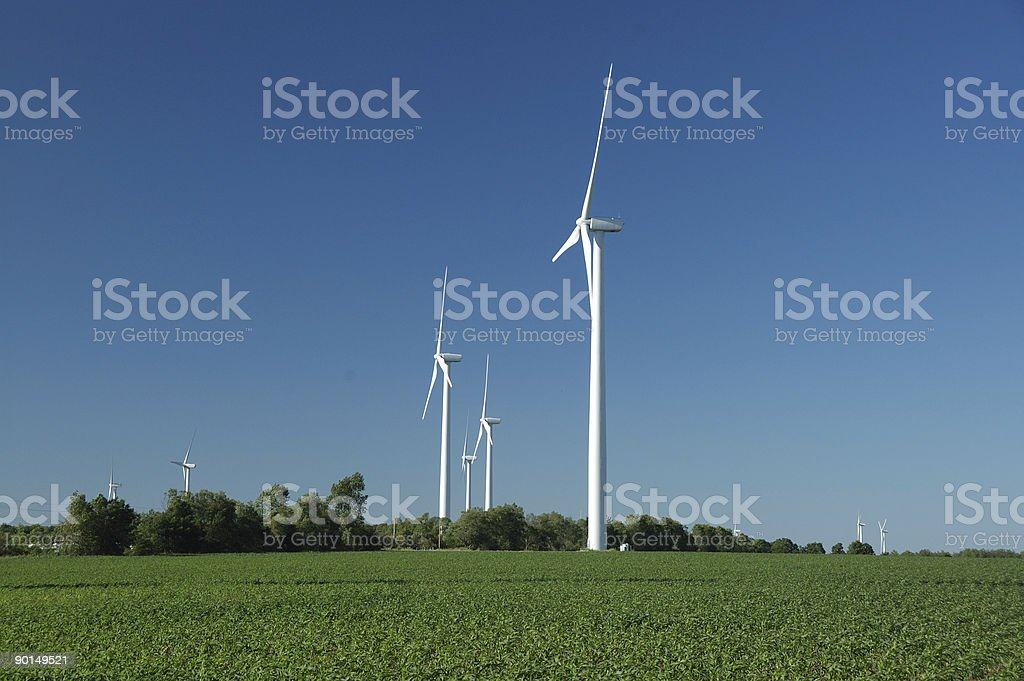 Windmills in Ontario countryside royalty-free stock photo