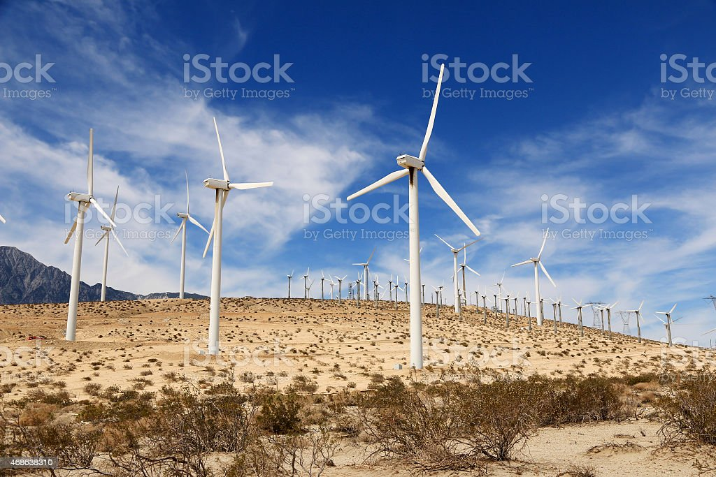 Windmills in Palm Springs, California, USA stock photo