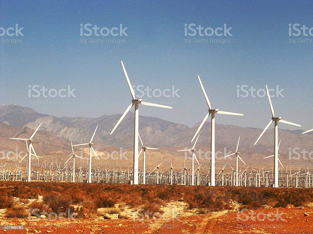 WIndmills in Palm Springs stock photo