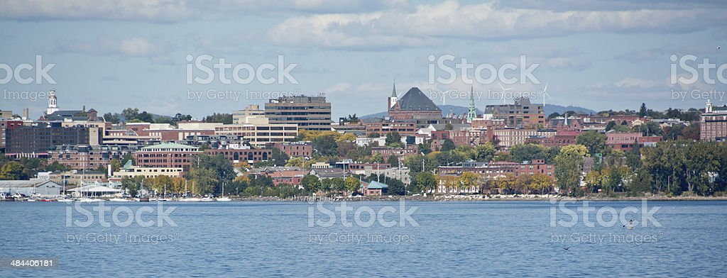 Windmills in the Burlington, Vermont skyline stock photo