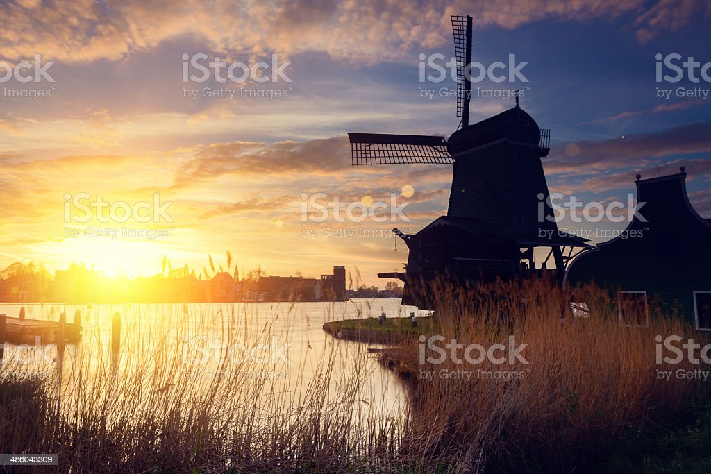 Windmills in the Netherlands stock photo