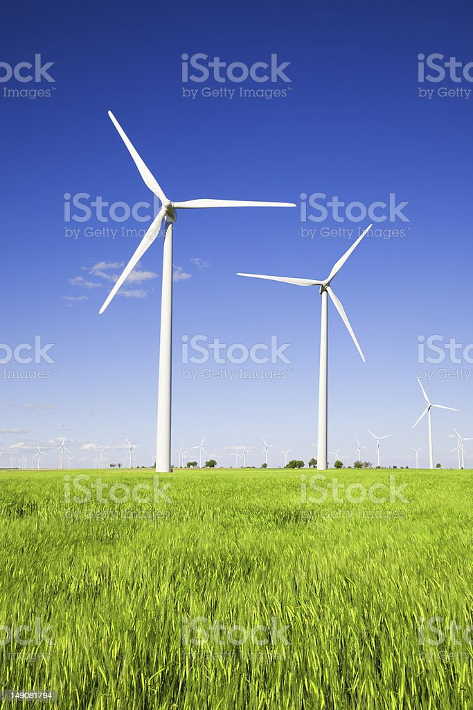 Windmills in the plains with green grass and blue skies royalty-free stock photo