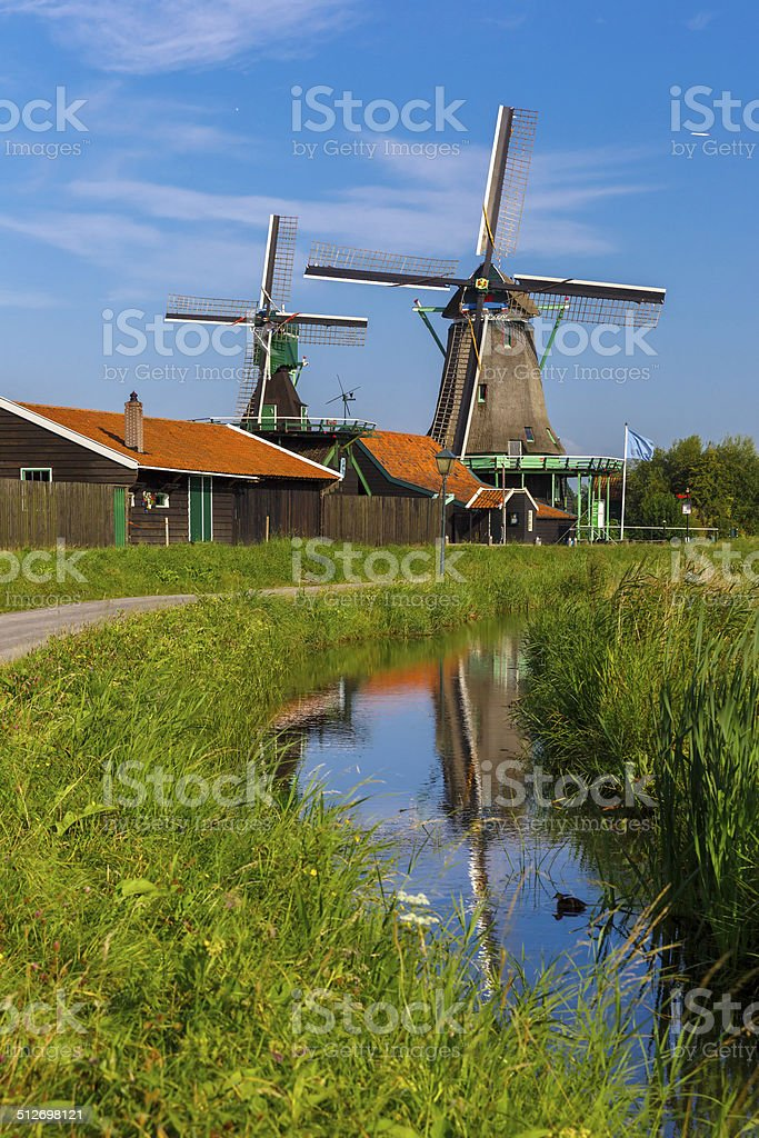 Windmills in Zaanse Schans, Holland, Netherlands stock photo