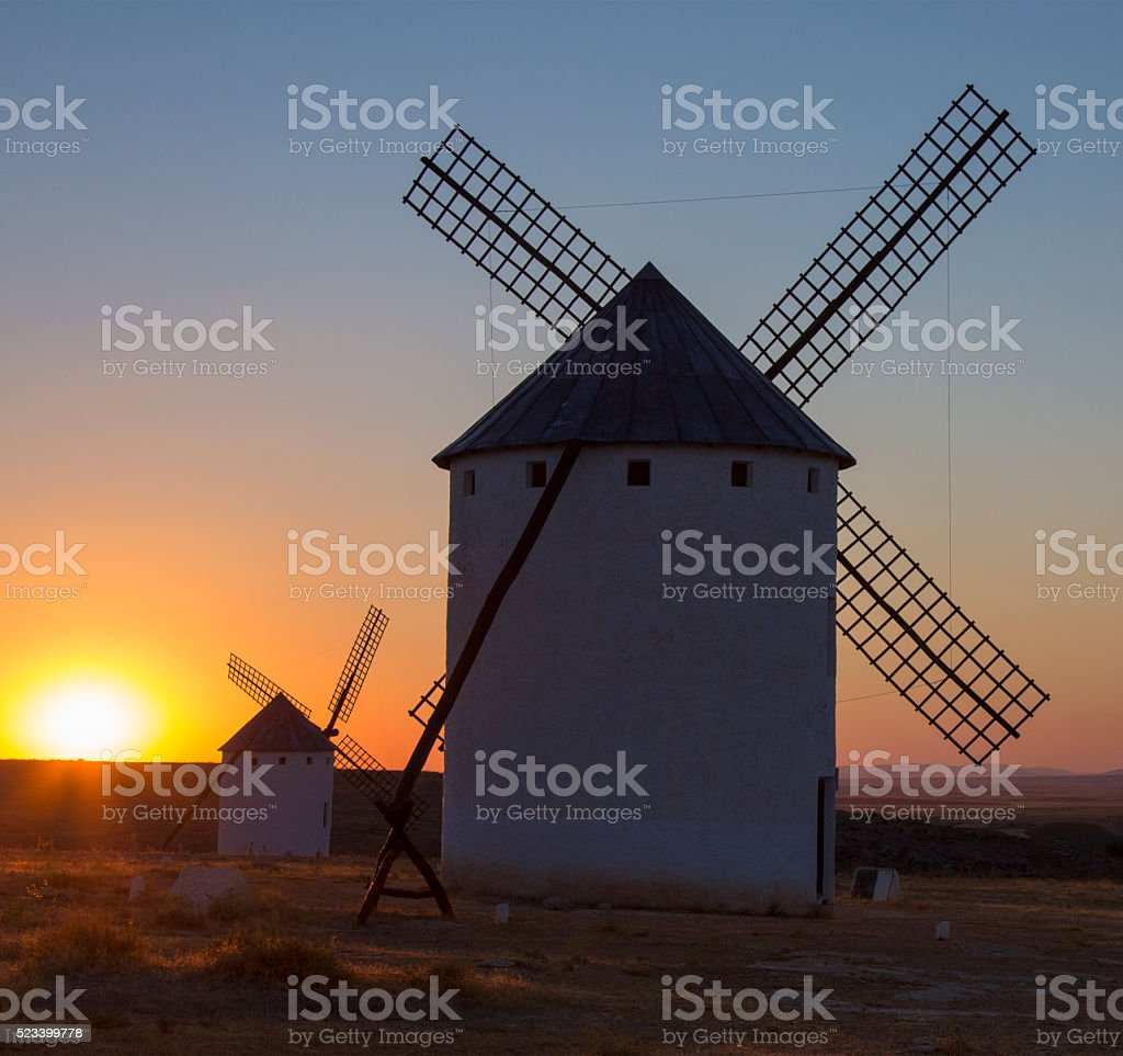 Windmills - La Mancha - Spain stock photo