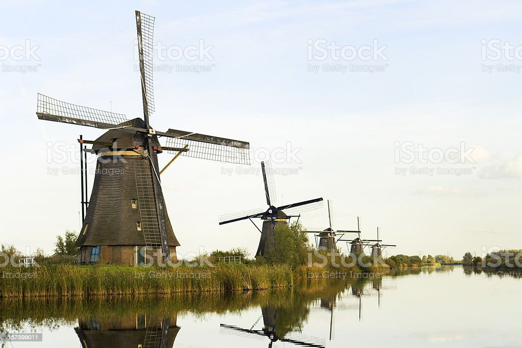 Windmills of Holland stock photo
