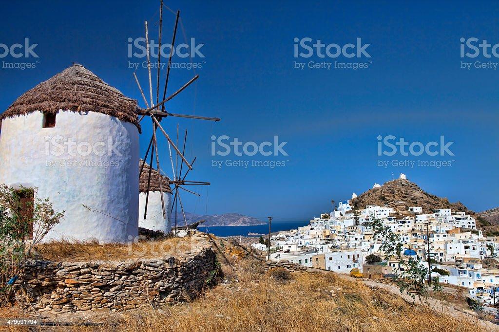 windmills of Ios island (Greece) stock photo