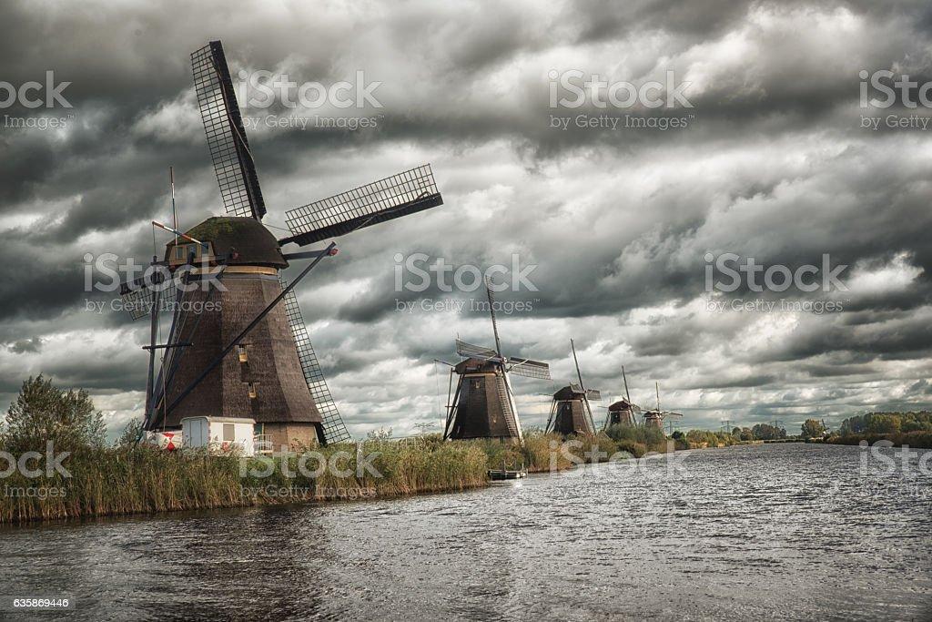 Windmills of Kinderdijk. stock photo