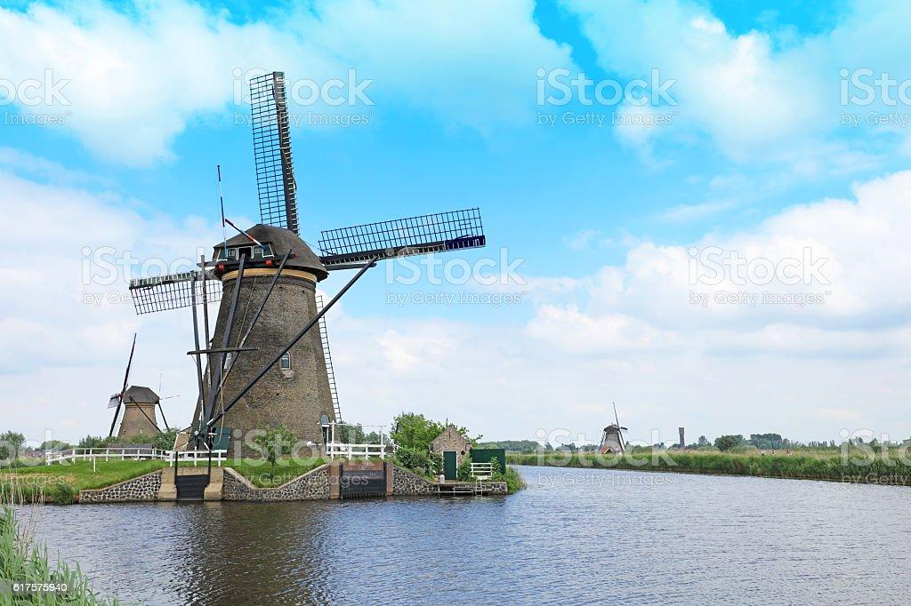 Windmills of Kinderdijk UNESCO World Heritage Site Netherlands stock photo