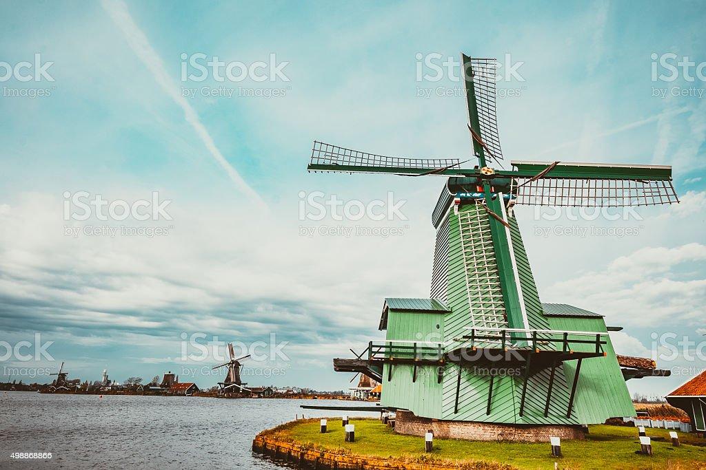 Windmills of Netherlands stock photo
