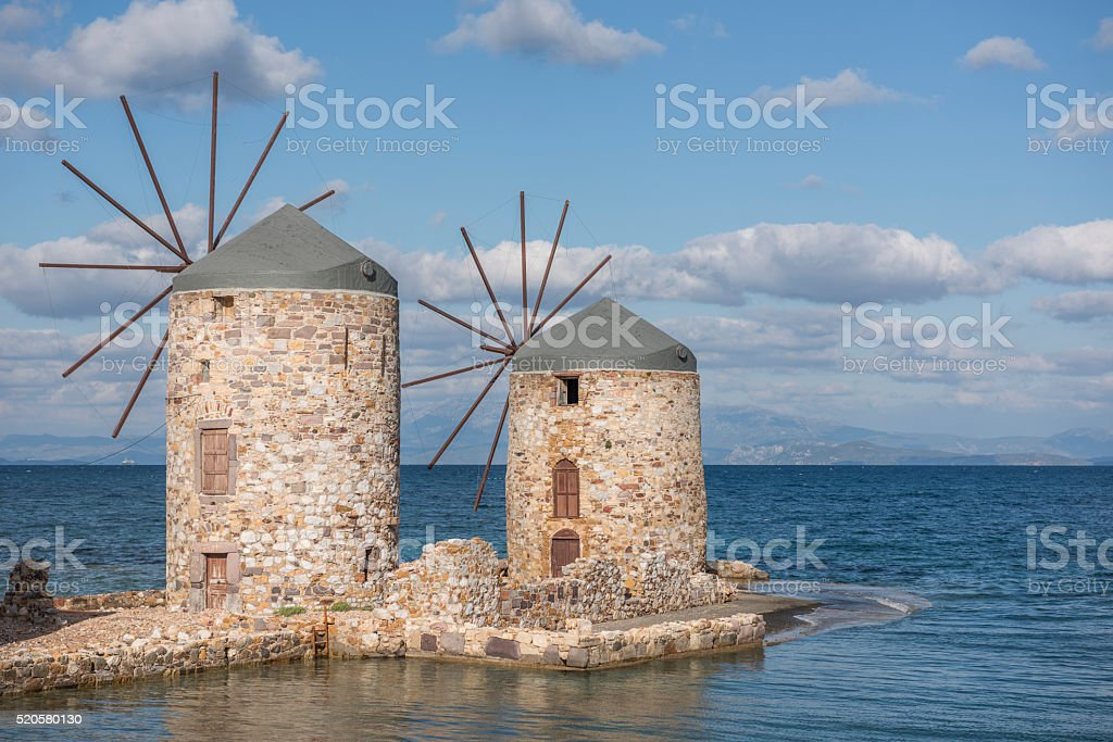 Windmills on Chios Island in Greece stock photo