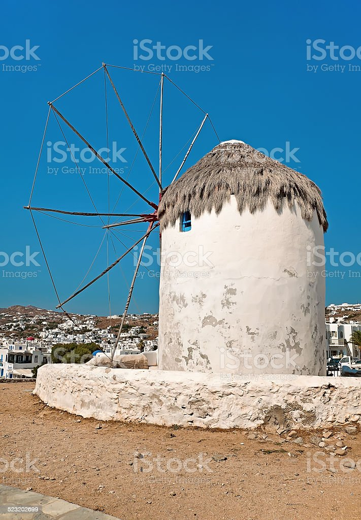 Windmills on Mykonos island, Greece stock photo