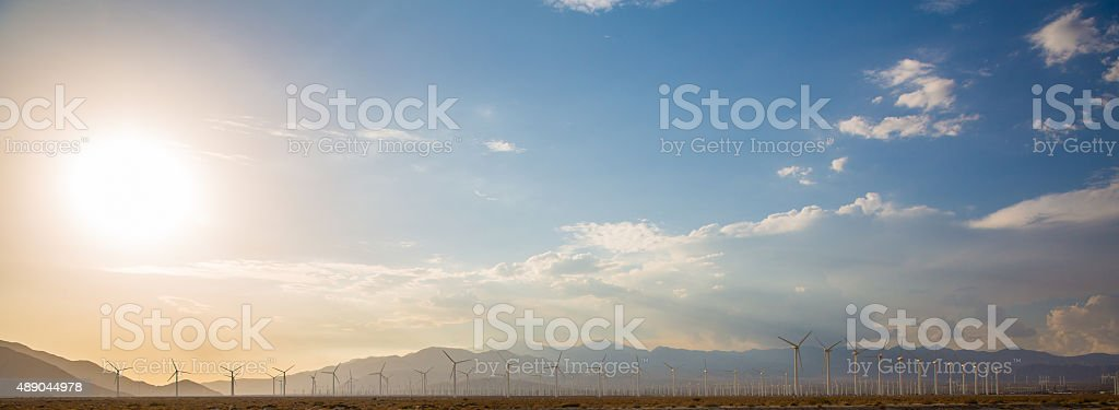 Windmills Renewable Energy Turbine Farm stock photo