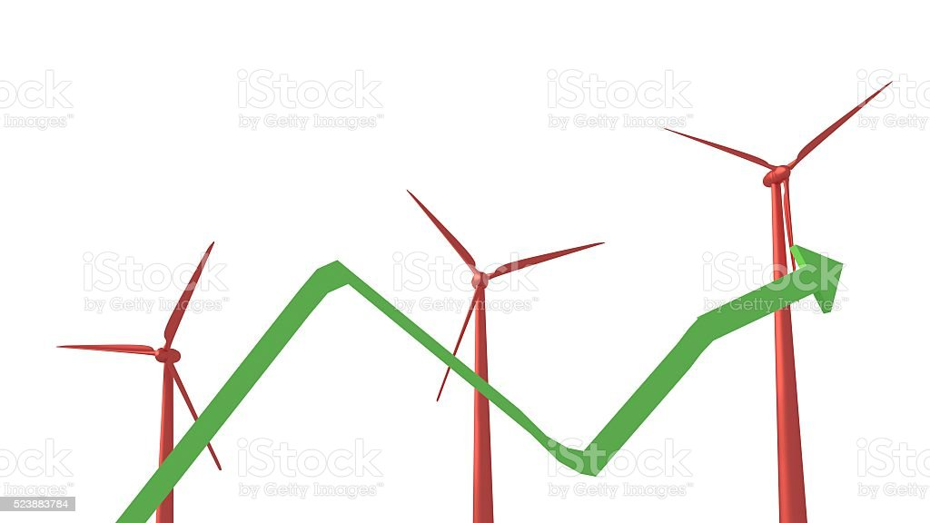 Windmills rising with arrow 3d render stock photo