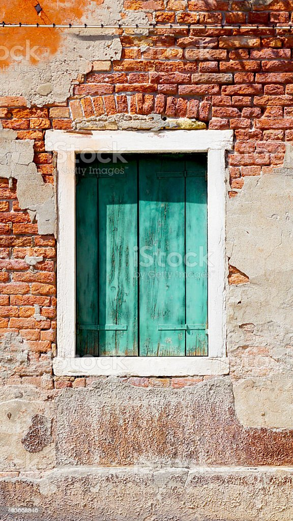 window and ancient decay wall stock photo