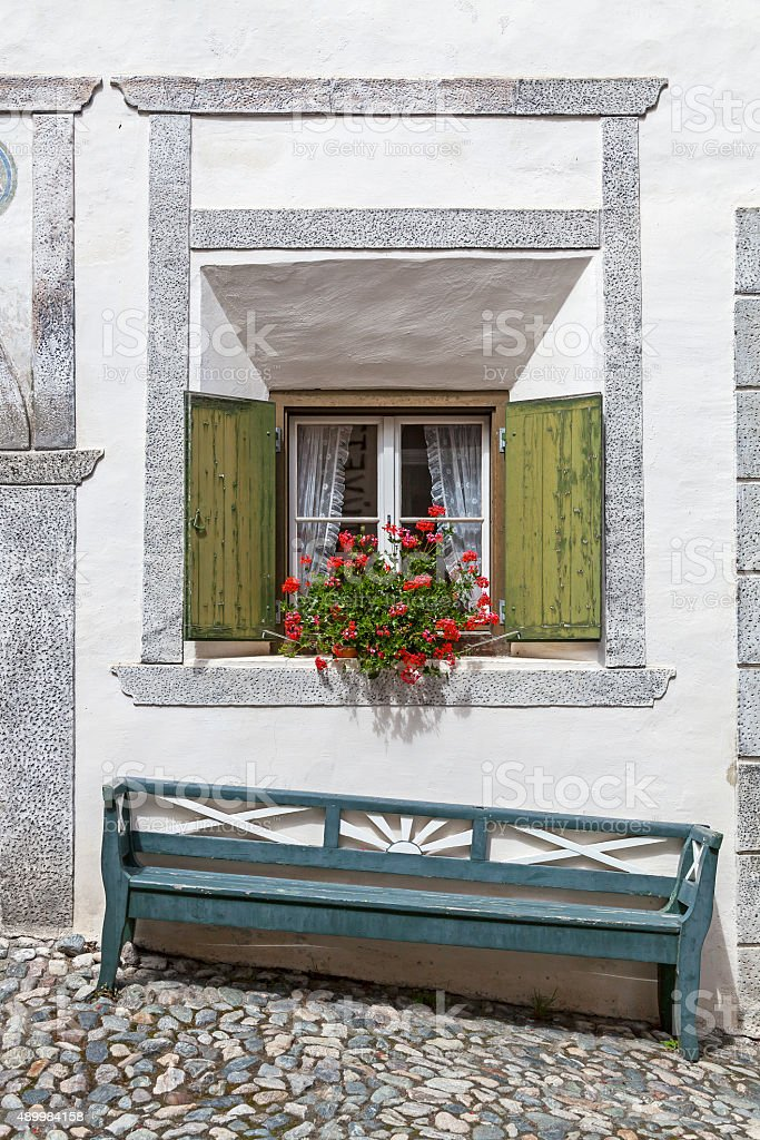 Window and bench stock photo