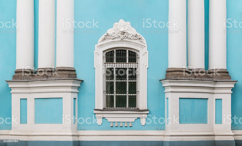 Window and columns on facade of St. Nicholas Naval Cathedral stock photo