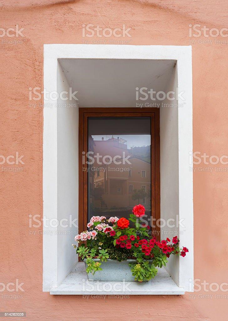 window and flowerbox stock photo