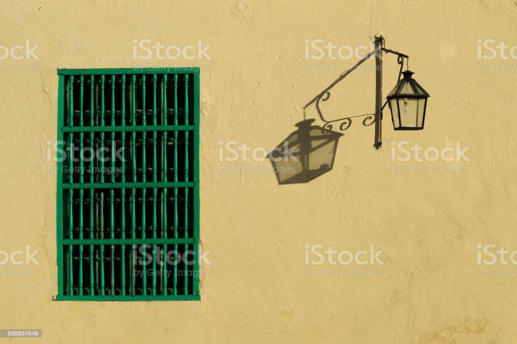 Window and lantern, Cuba stock photo