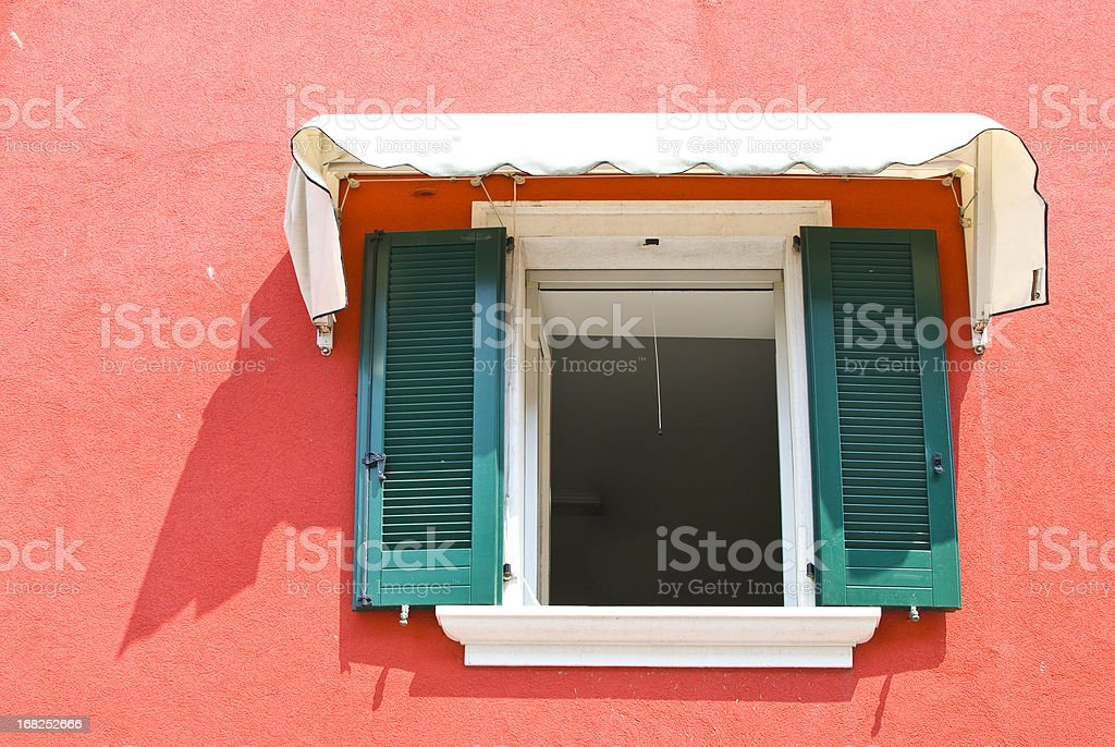 Window and red wall stock photo