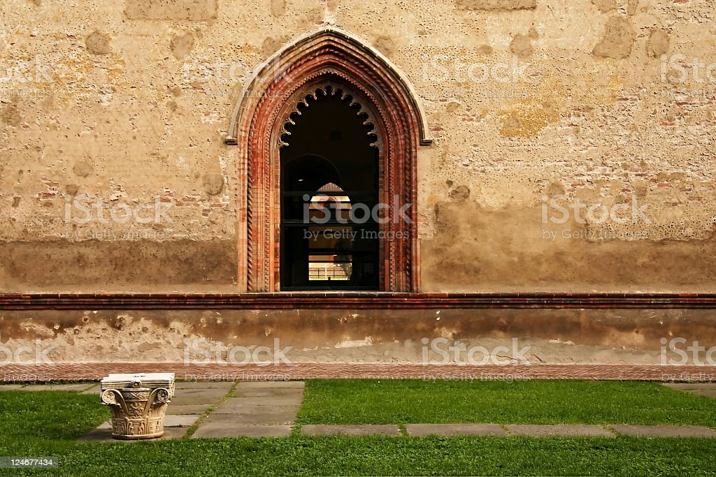 Window and seat at Castello Sforzesco royalty-free stock photo