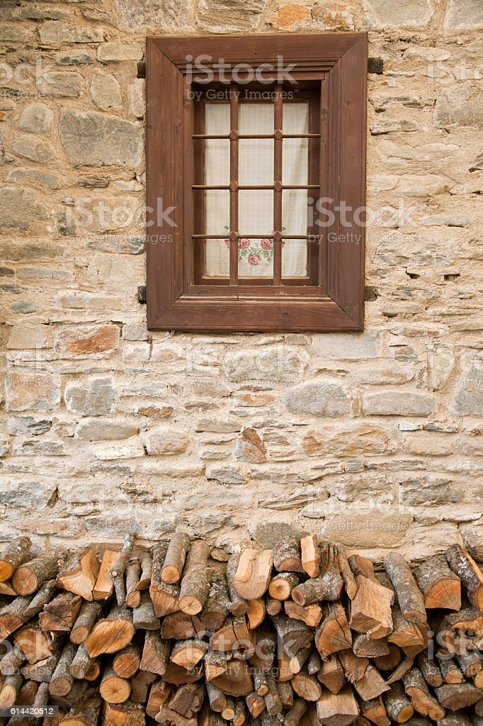 Window and woods for fire, Birgi, Odemis stock photo