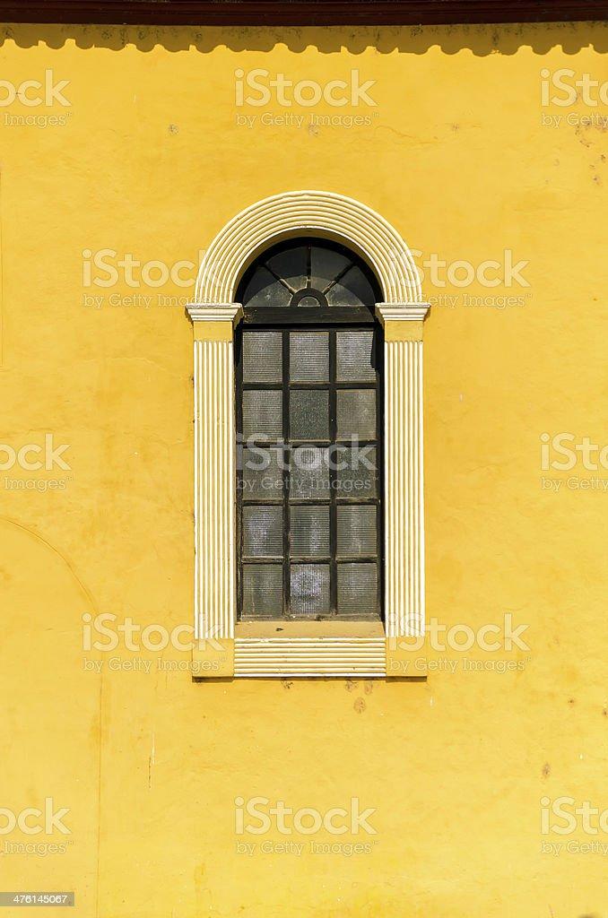 Window and Yellow Wall stock photo