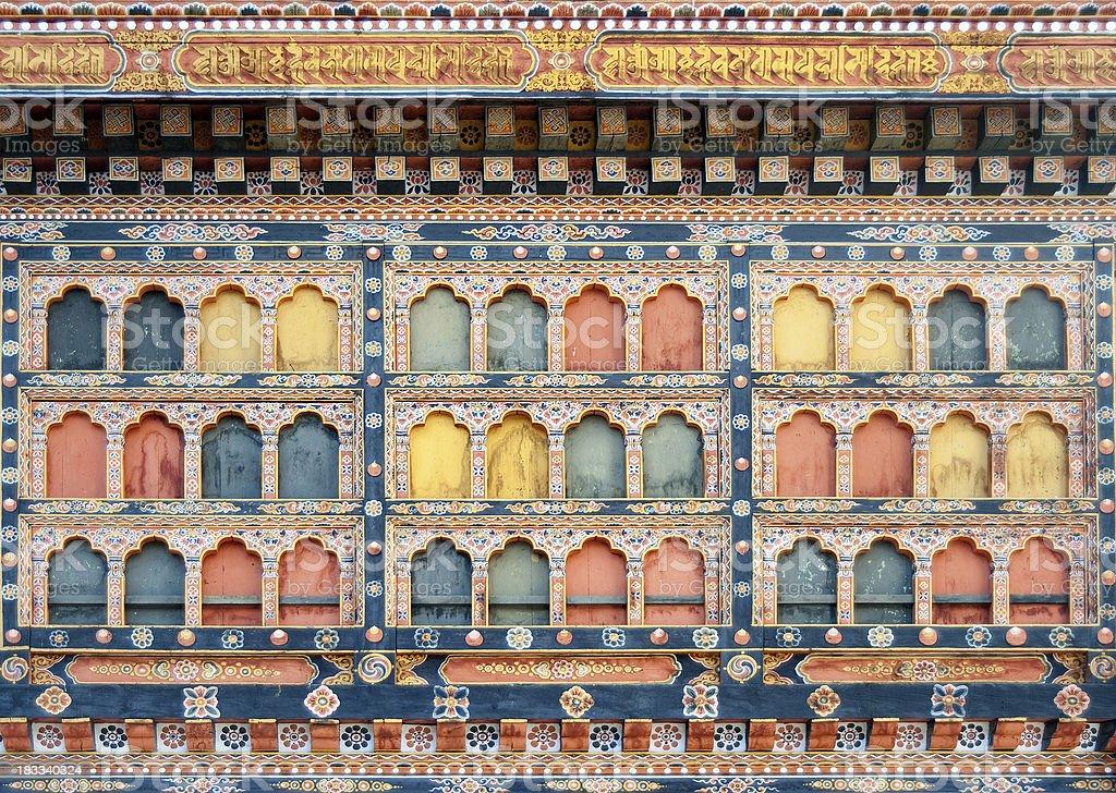 Window at Paro Dzong in Bhutan. stock photo