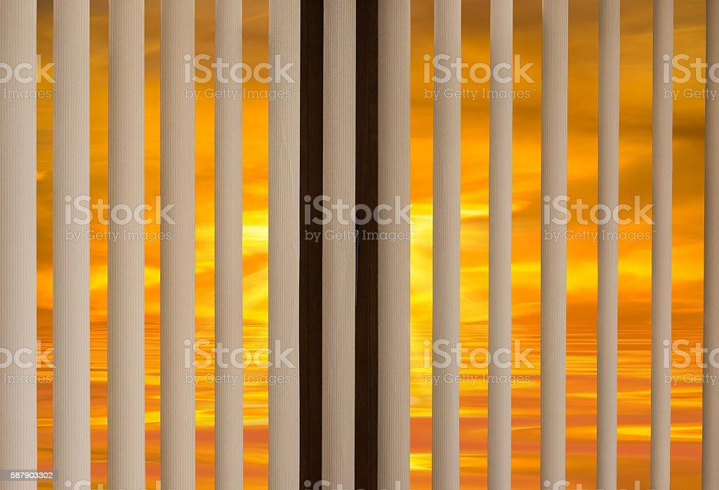 window blinds sunset stock photo
