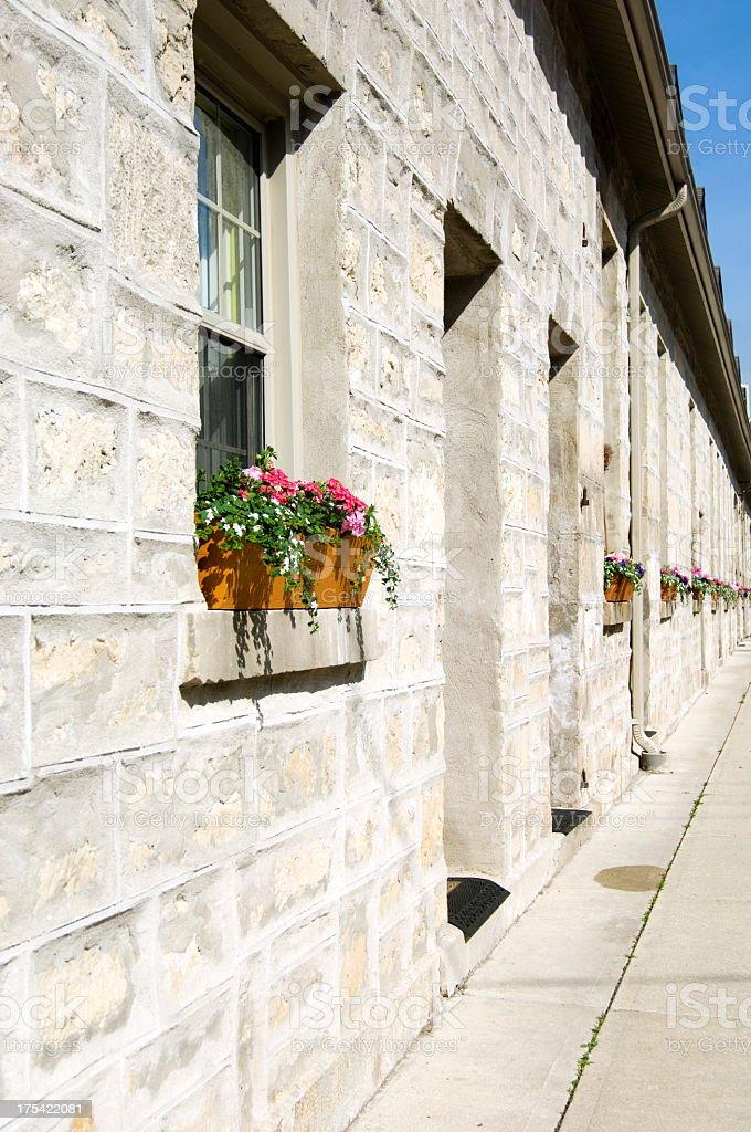 Window Boxes on Limestone Row Houses stock photo