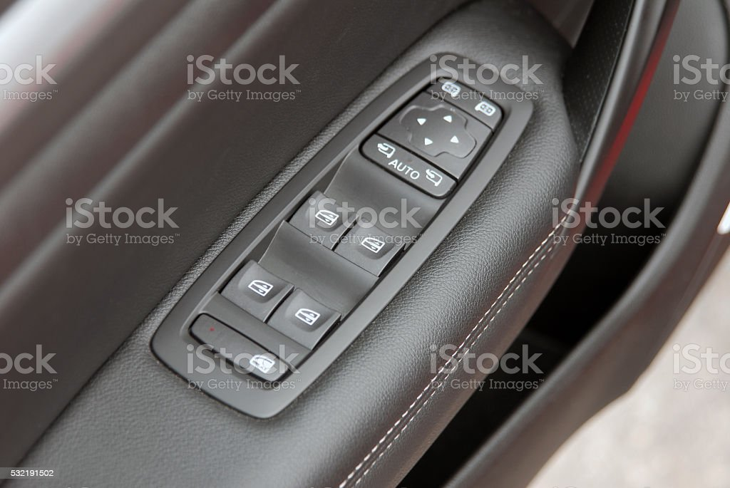 window button and side mirror switch control stock photo