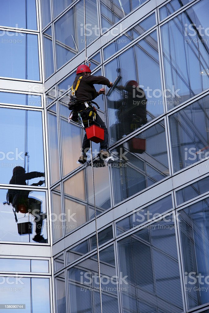 Window cleaner and reflection stock photo