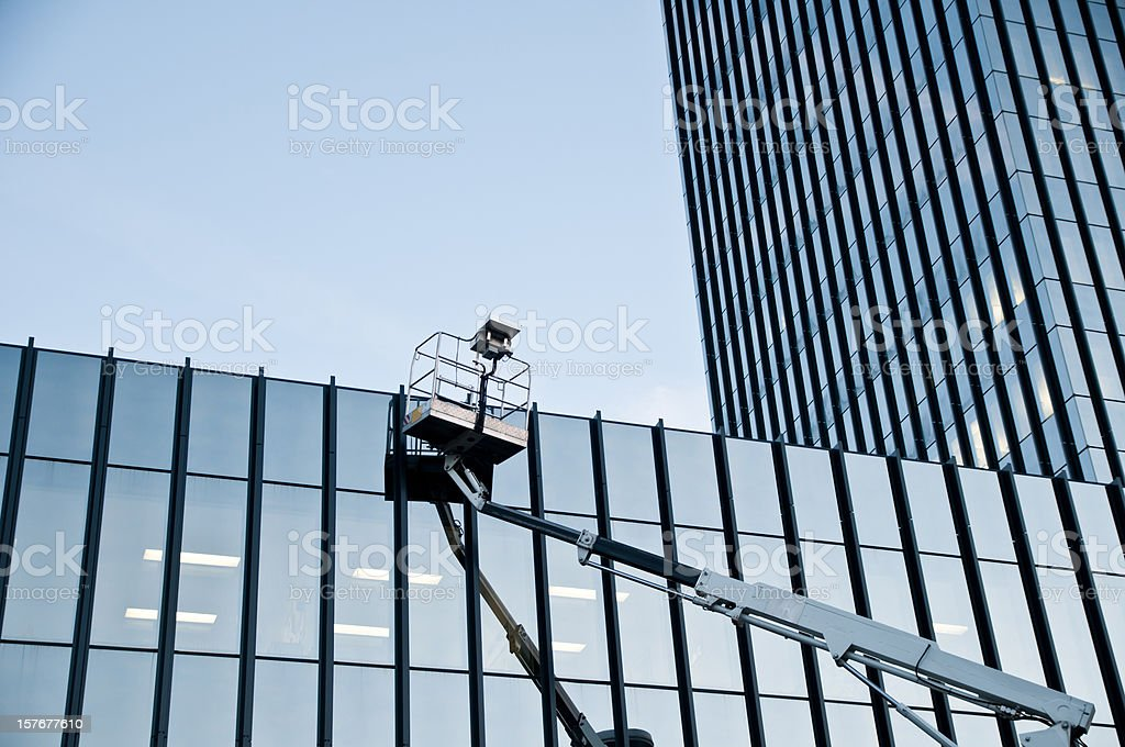window cleaner gone for a coffee break stock photo