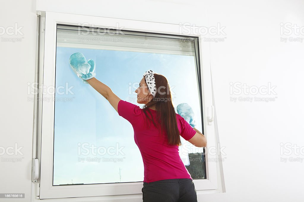 Window cleaning royalty-free stock photo