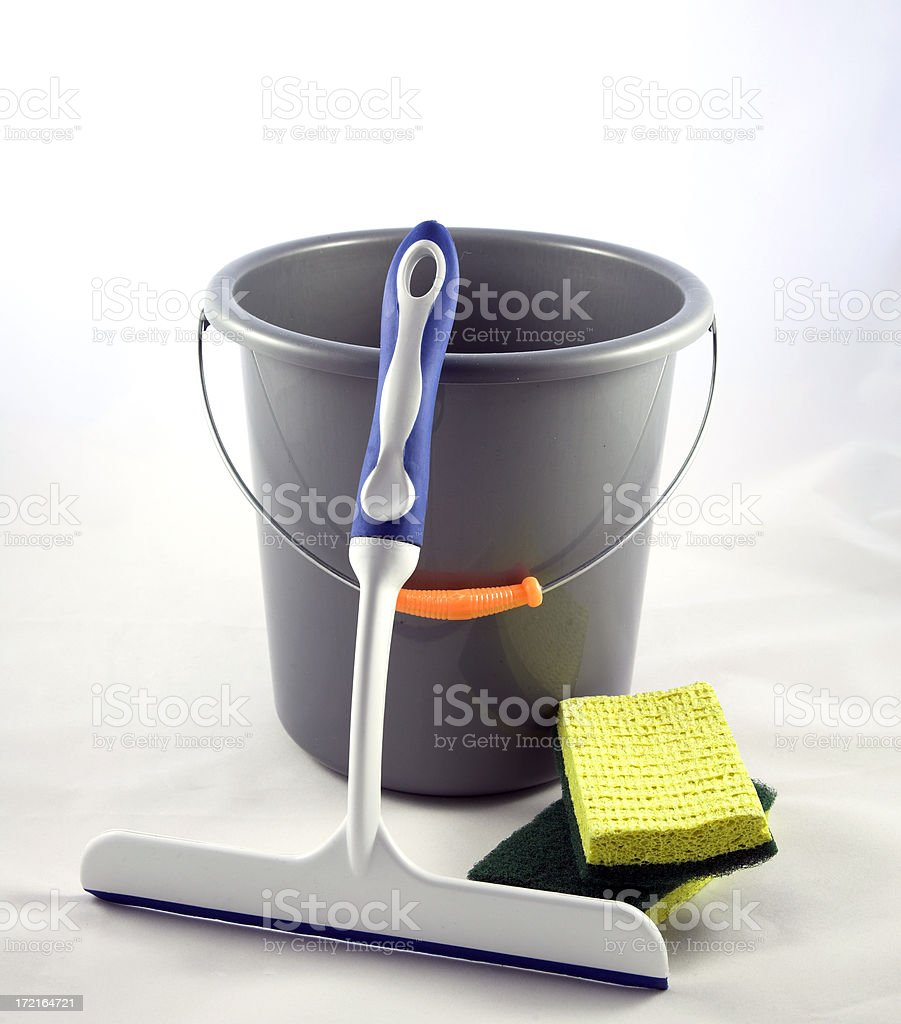 Window Cleaning Squeegee, Bucket and Brushes stock photo