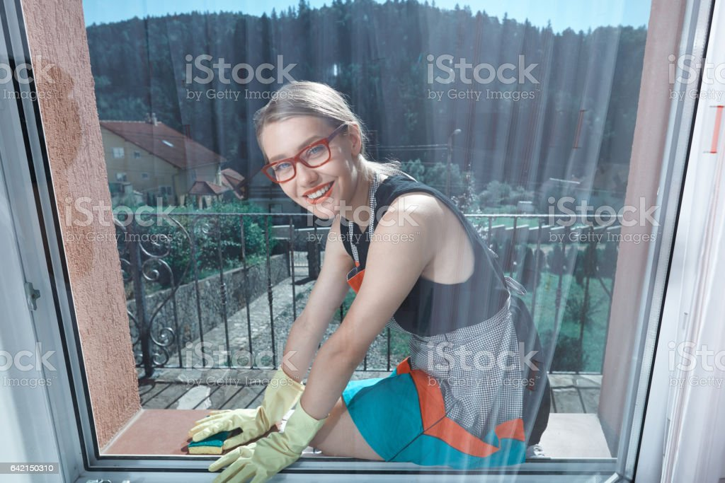 window cleaning time stock photo