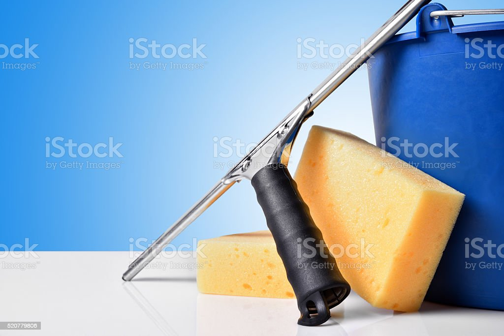 Window cleaning tools front view stock photo