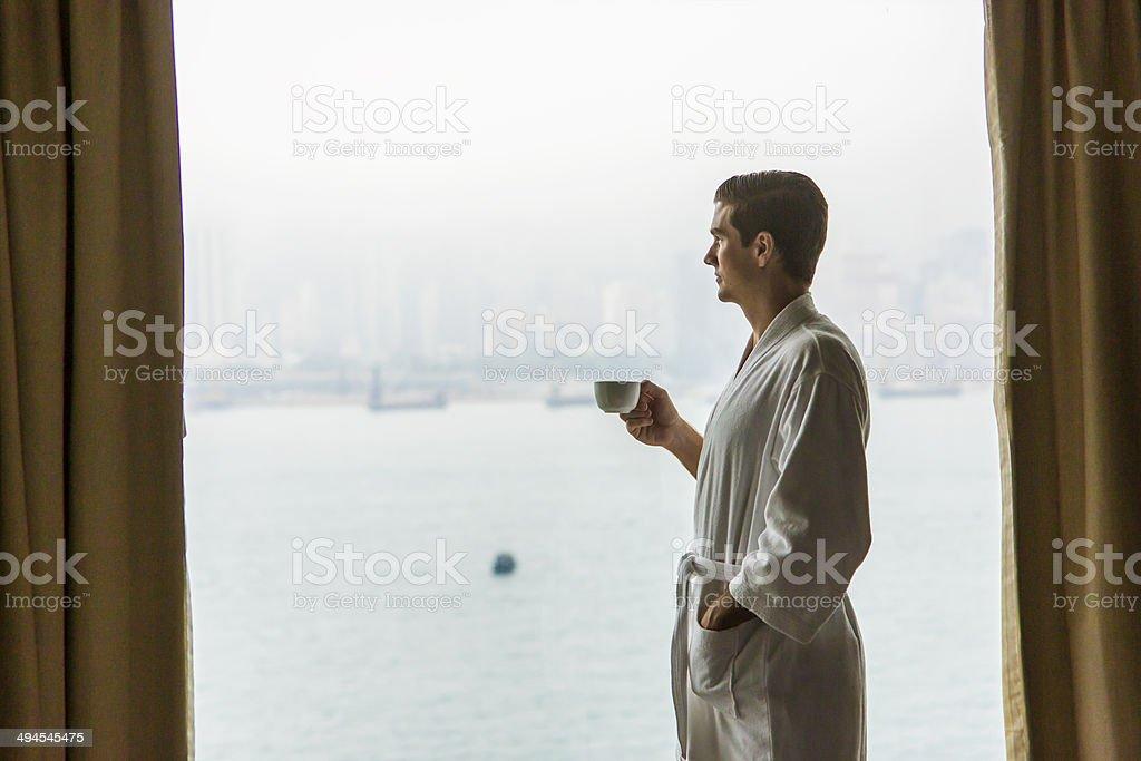 Window Coffee Man royalty-free stock photo